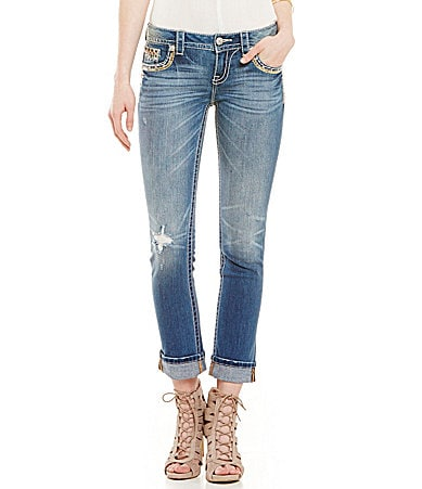 Miss Me Tribal-Embroidered Cuffed Distressed Straight Jeans