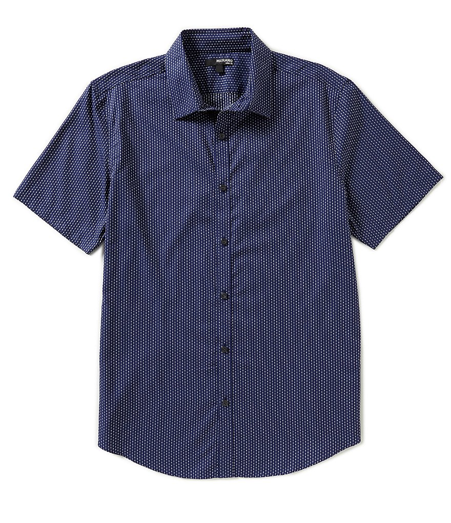 Murano Striped Dobby Short-Sleeve Slim-Fit Sportshirt