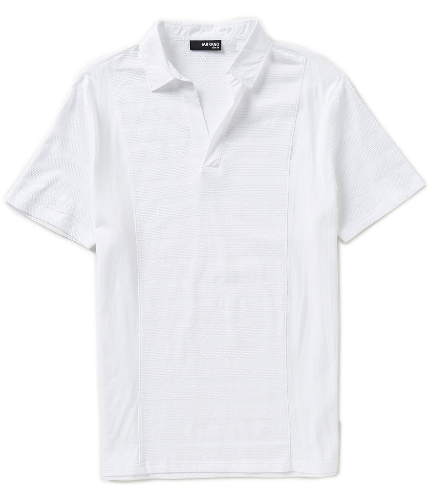 Murano Mixed-Media Slim-Fit Polo Shirt