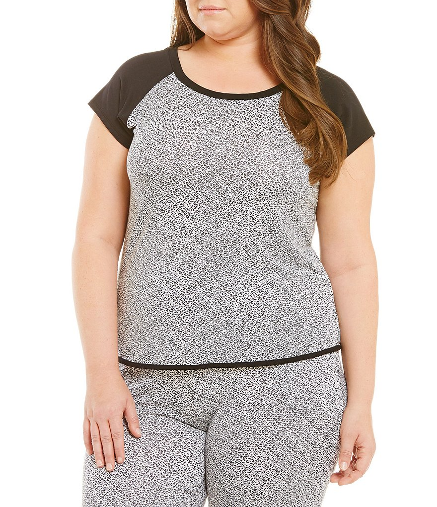 DKNY Plus Printed Jersey Knit Sleep Top