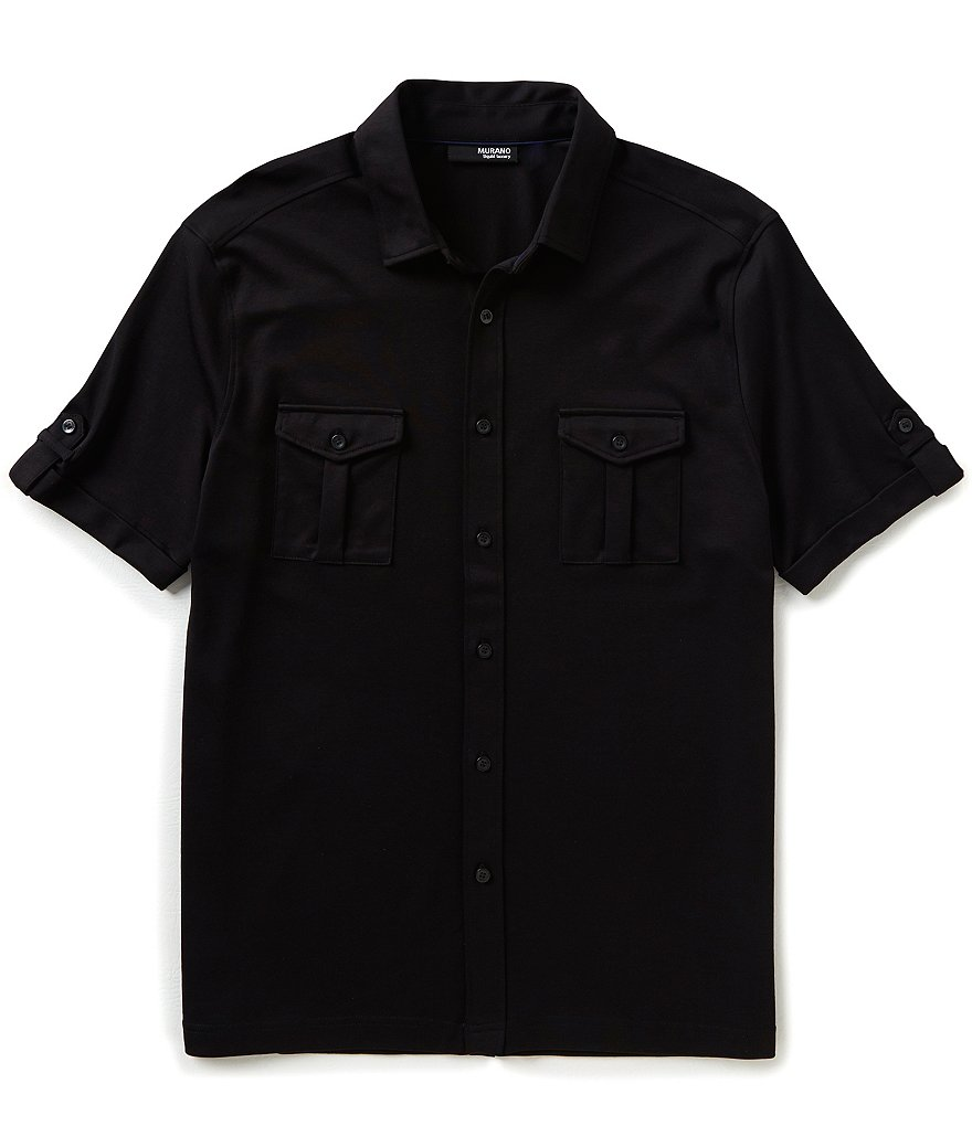 Murano Liquid Luxury Short-Sleeve Button-Down Knit Shirt