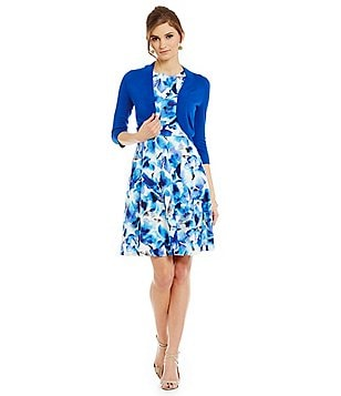 Jessica Howard Petite 2-Piece Fit-and-Flare Floral Scuba Jacket Dress