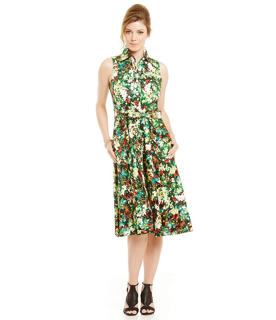 Leslie Fay Floral-Print Collared Shirt Dress
