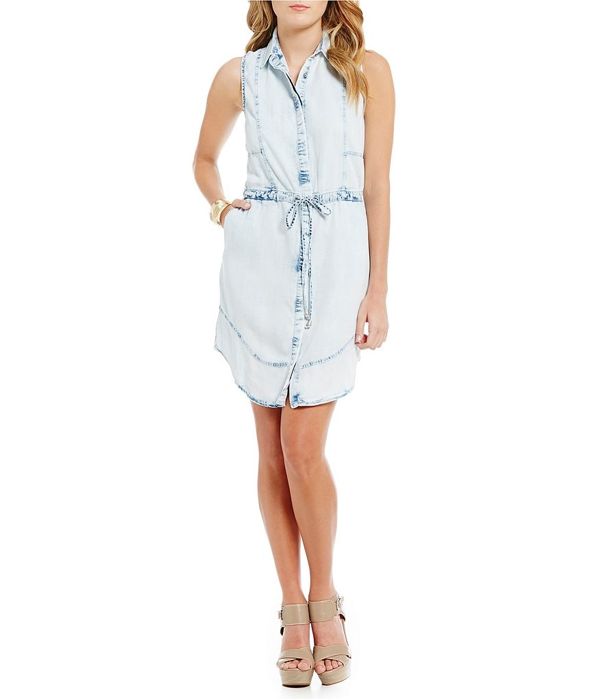 Celebrity Pink Cinched Acid-Wash Denim Dress