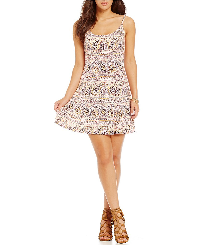 Billabong Same Dance Paisley Print Fit-and-Flare Dress
