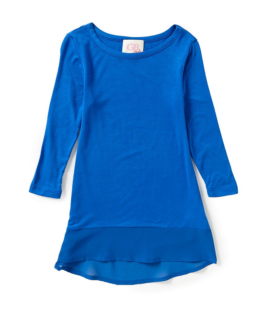 GB Girls Little Girls 4-6X Chiffon Hem Knit Tee