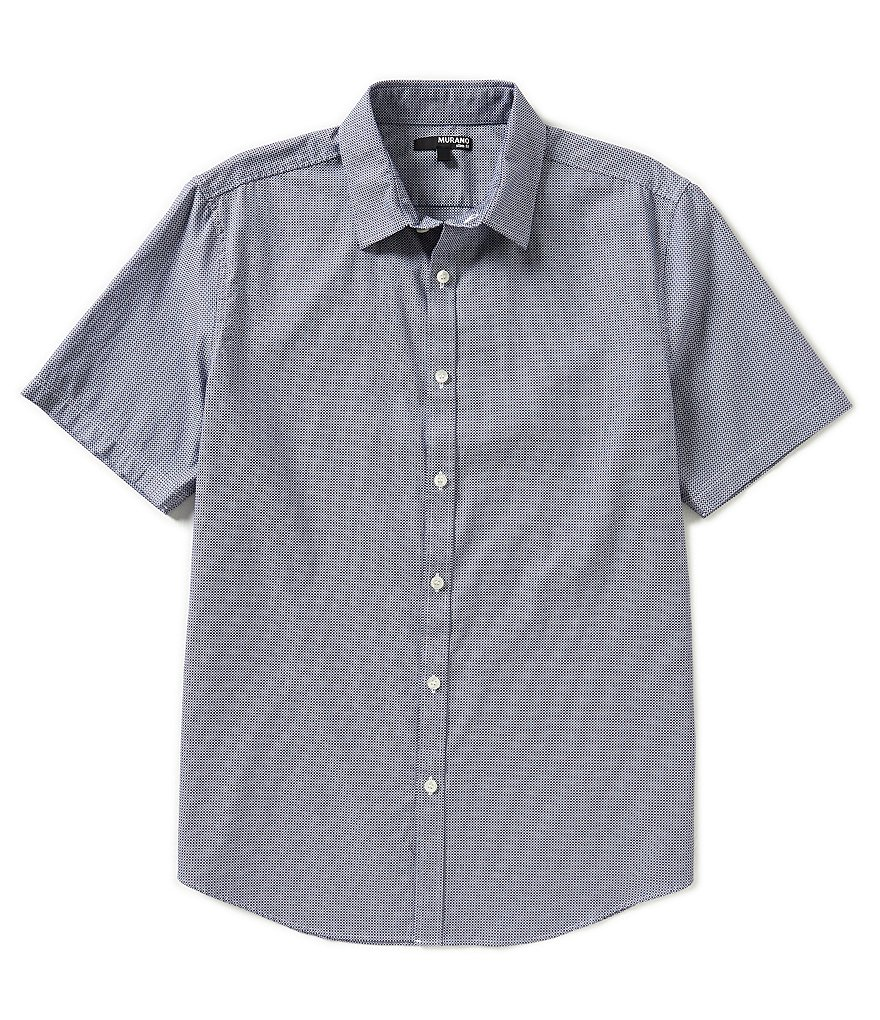 Murano Short-Sleeve Slim-Fit Micro-Check Dobby Sportshirt