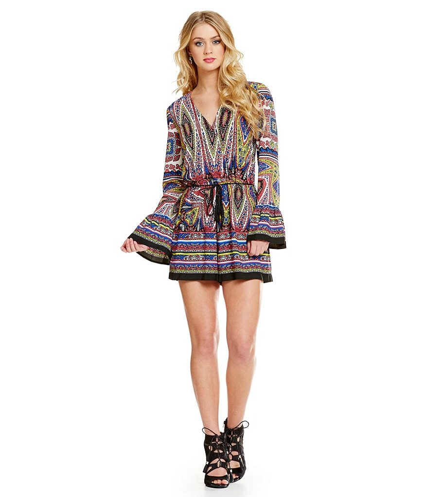 GB Printed Long Sleeve Wrap Front Romper