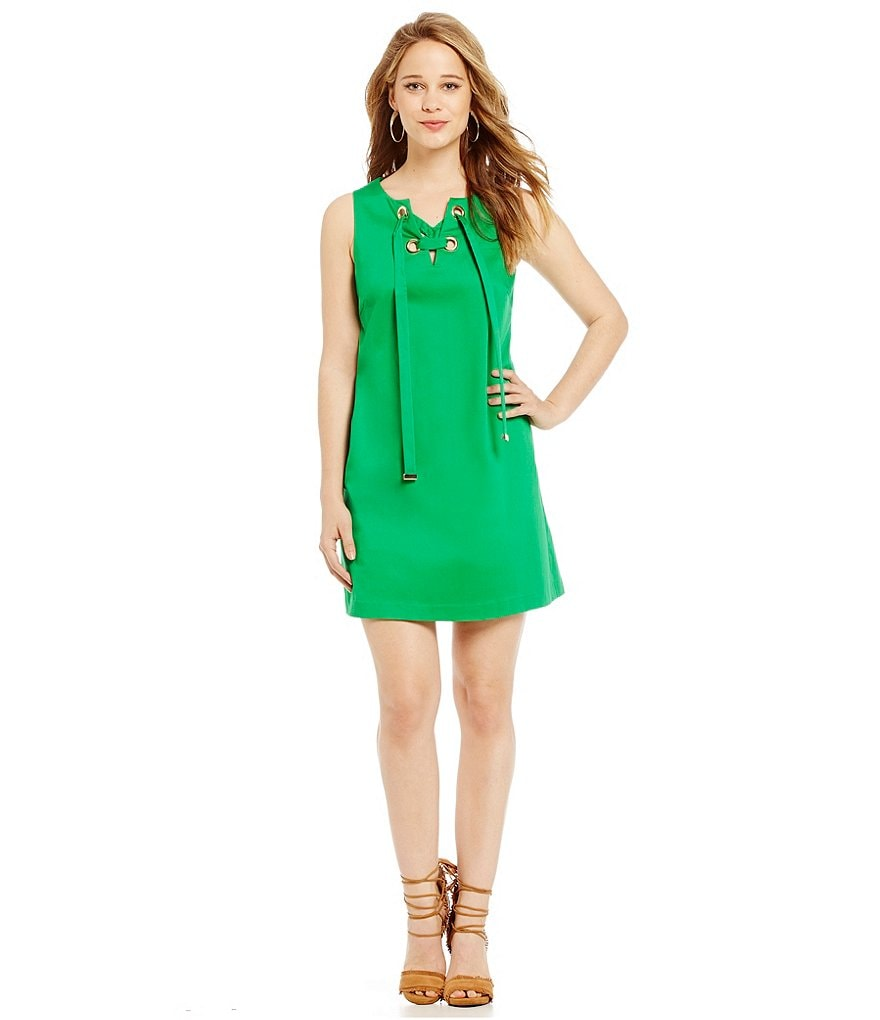 Jessica Simpson Large Grommet Lace Up Eyelet Shift Dress