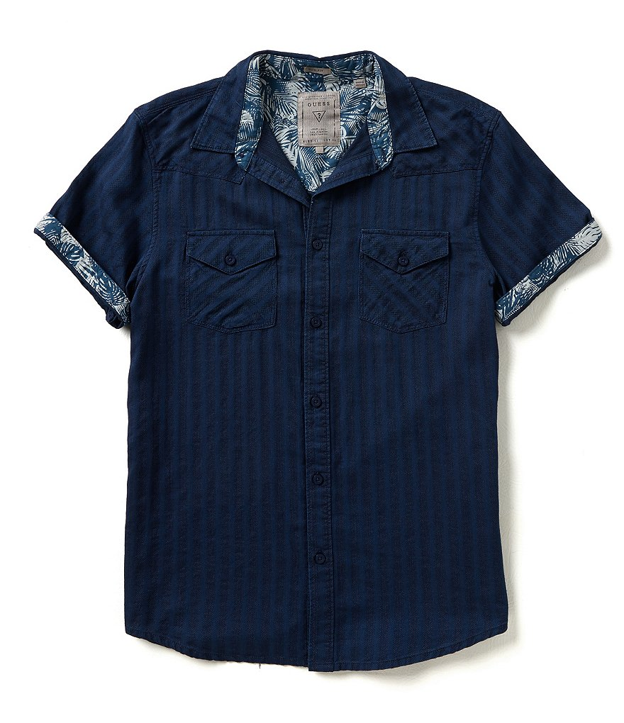 Guess Short-Sleeve Dominic Dobby Striped Western Shirt