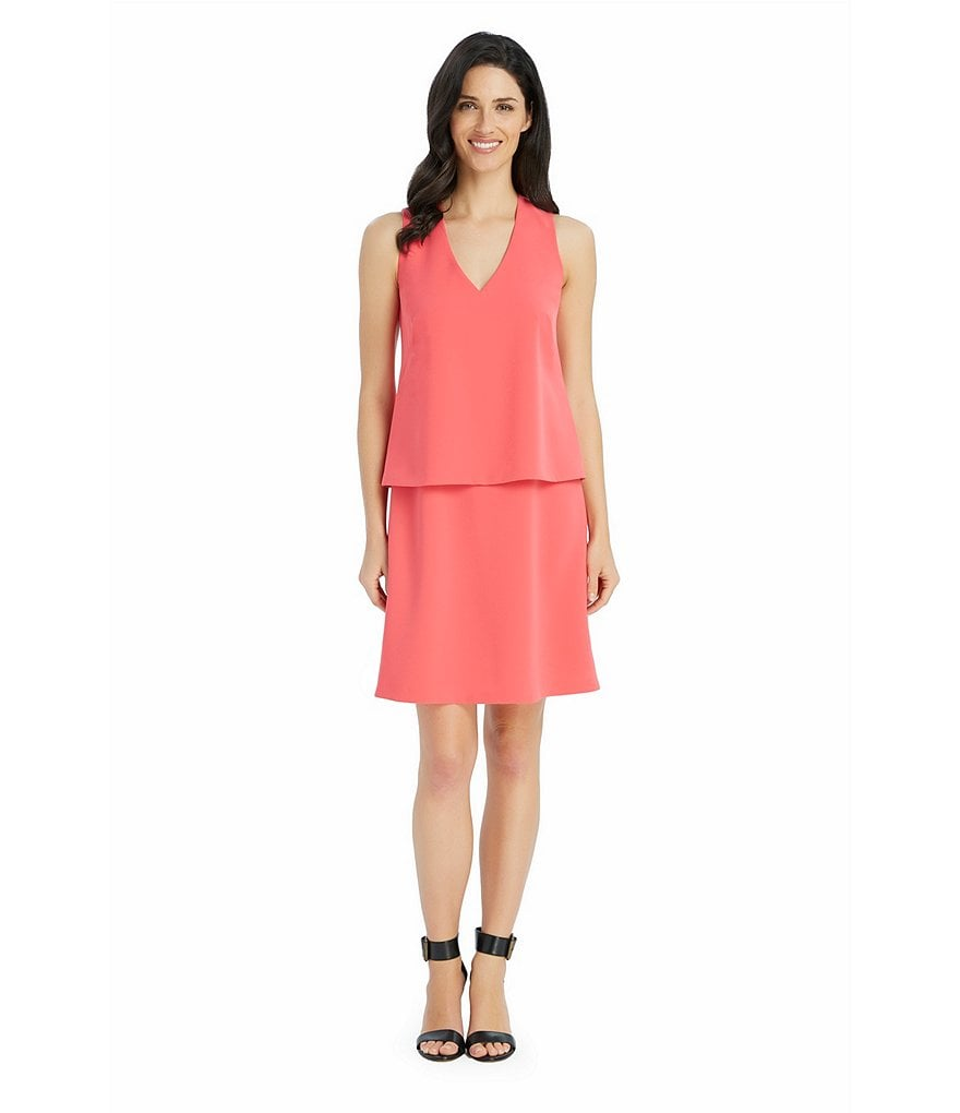 Ellen Tracy V-Neck Layered Crepe Sheath Dress