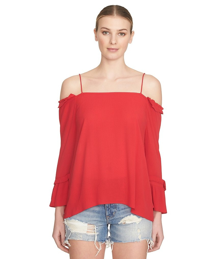 1. STATE Smocked Cold Shoulder Blouse