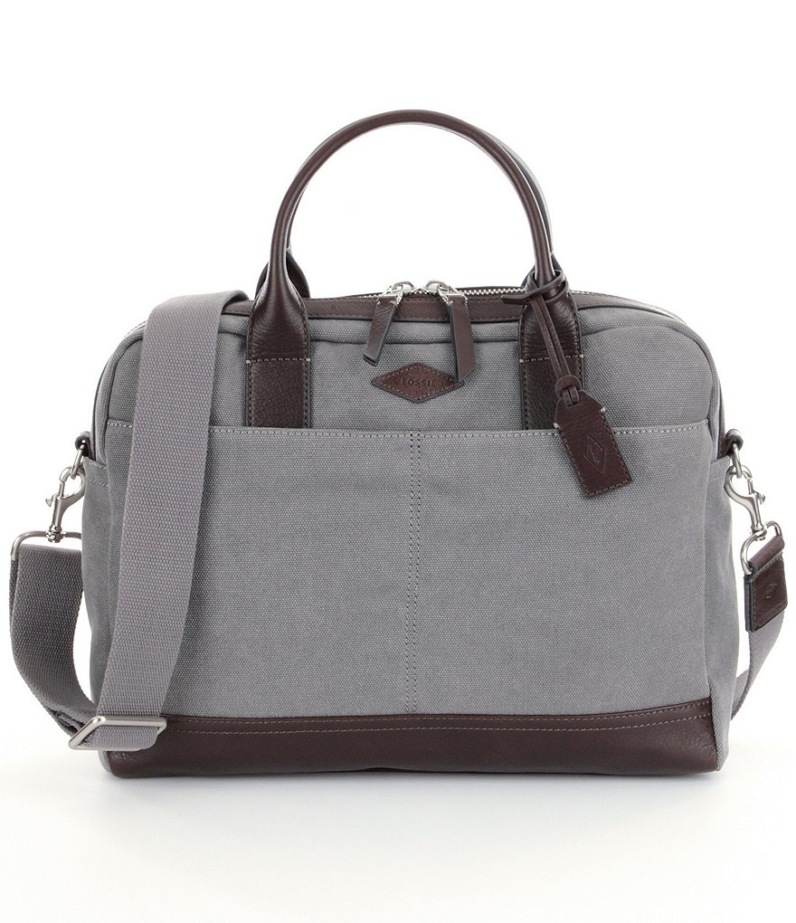 Fossil Wyatt Canvas Laptop Work Bag