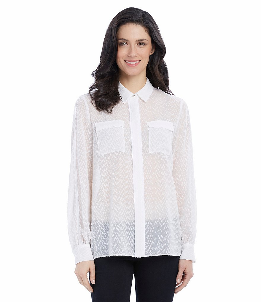 Ellen Tracy Piped Trim Clipped Georgette Jacquard Button Front Blouse