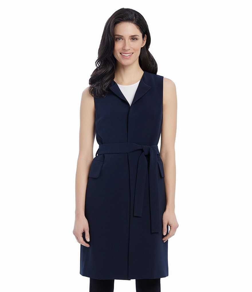 Ellen Tracy Stretch Crepe Sleeveless Belted Open-Front Long Jacket