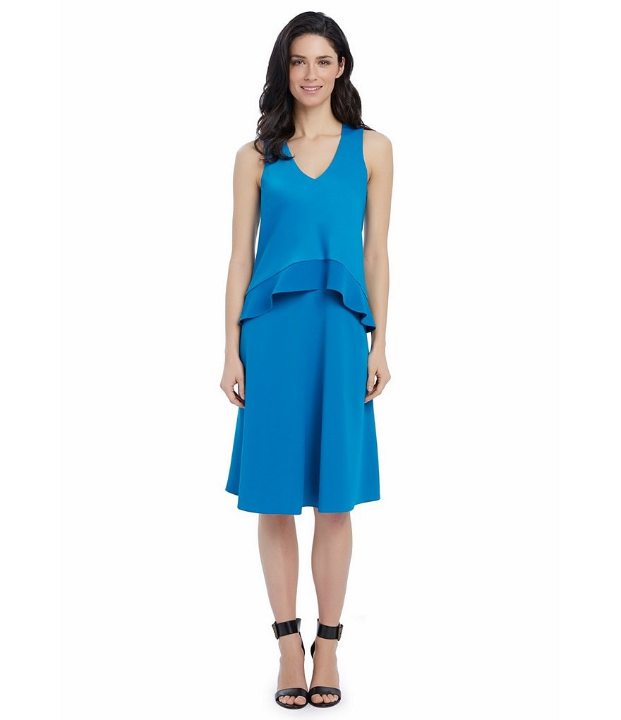 Ellen Tracy Asymmetrical Double-Layer Dress