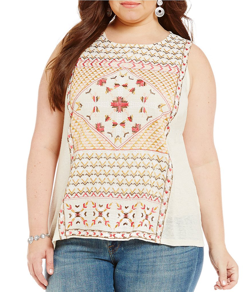 Lucky Brand Plus Sleeveless Embroidered Top