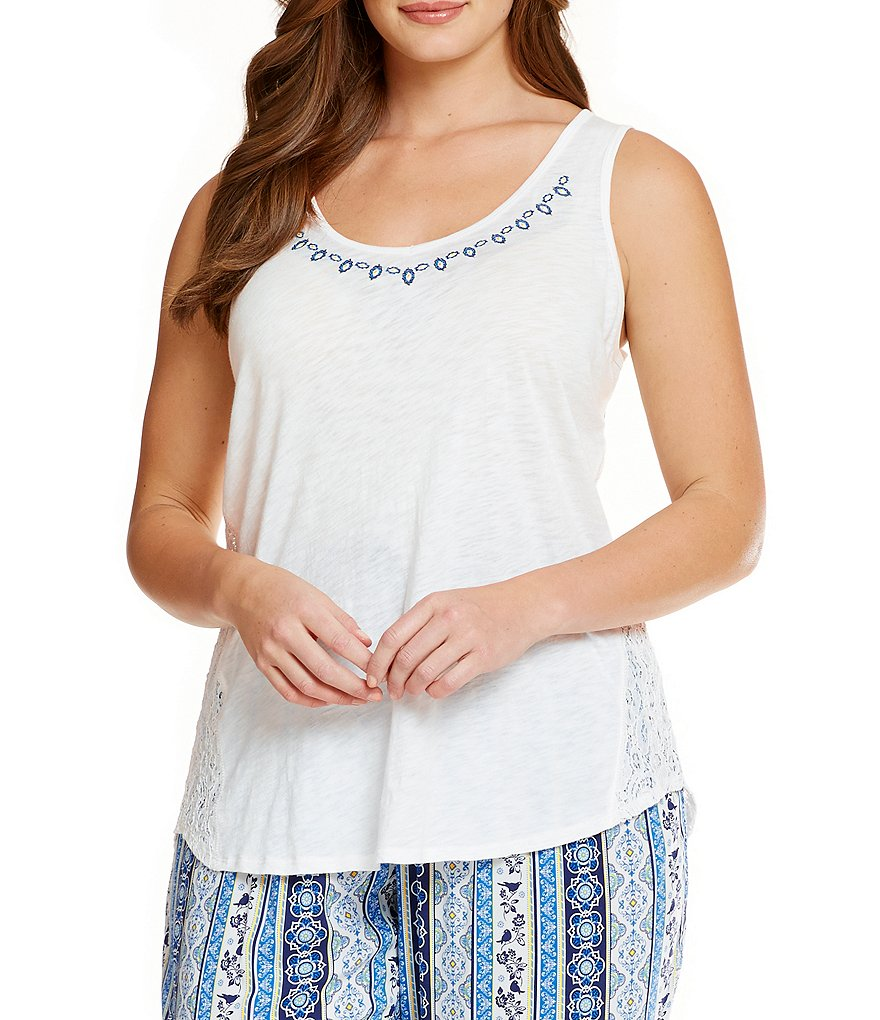 PJ Salvage Plus Coastal Blues Jersey & Crochet Racerback Sleep Tank