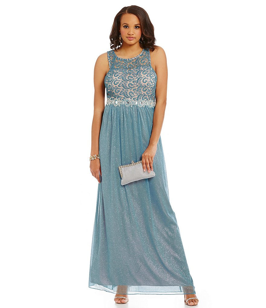Jodi Kristopher Plus Glitter Lace Bodice Two-Tone Gown