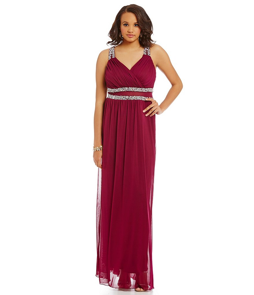 Jodi Kristopher Plus Jewel-Accented V-Neck Gown