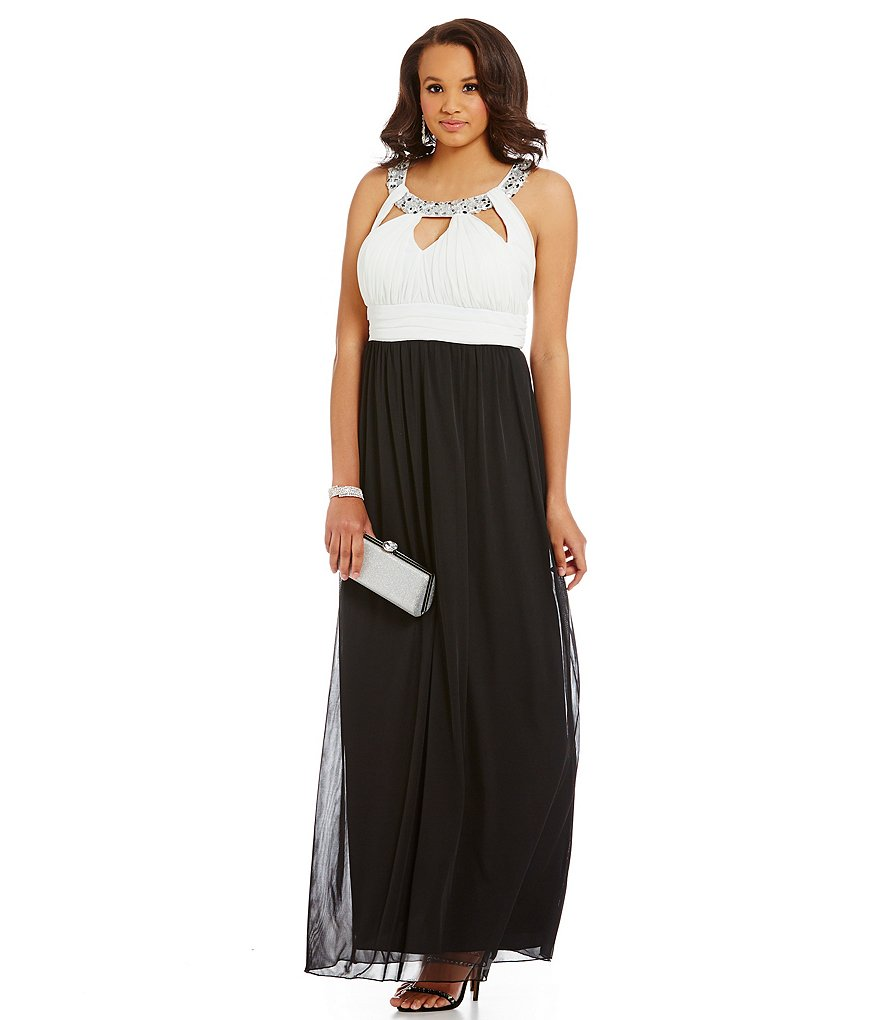 Jodi Kristopher Plus Beaded-Collar Keyhole Color Block Gown