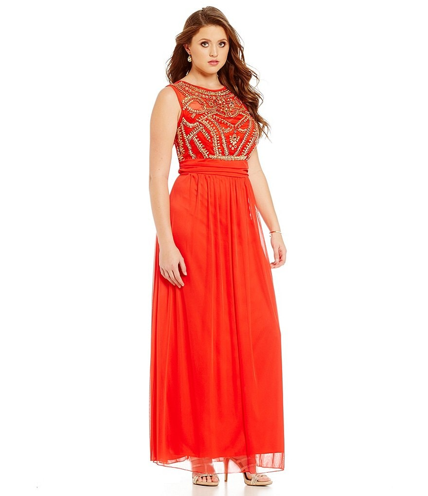 B. Darlin Plus Sleeveless Beaded Bodice Illusion Yoke Gown