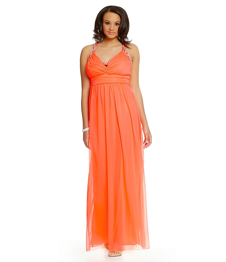 Jodi Kristopher Plus Beaded Straps Shirred Gown