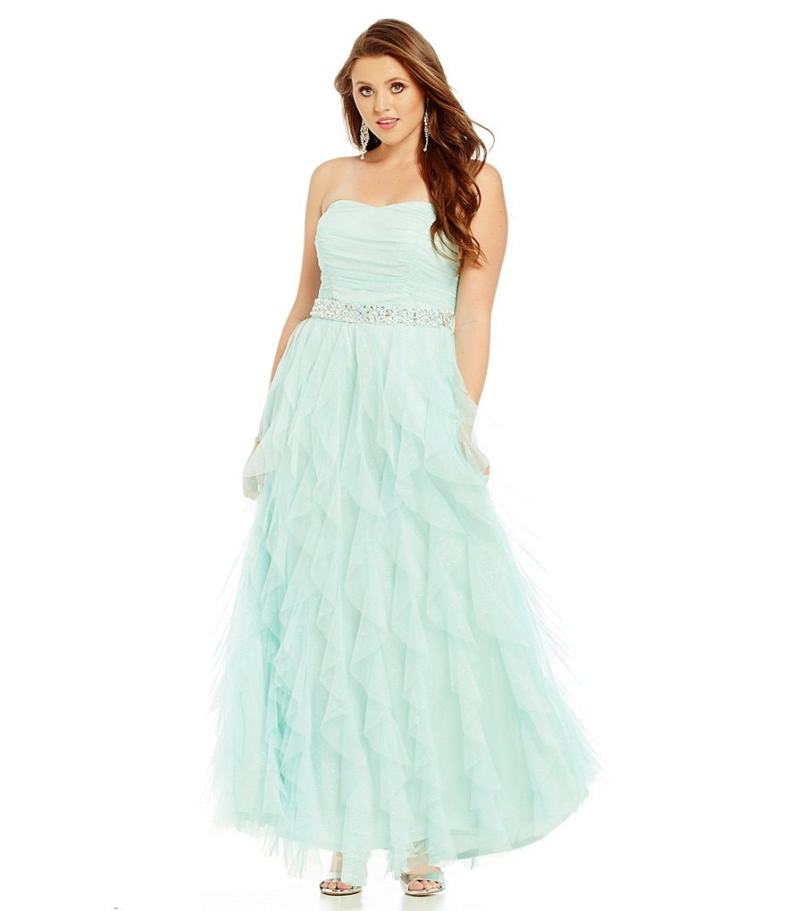 Teeze Me Plus Strapless Trim Long Corkscrew Dress