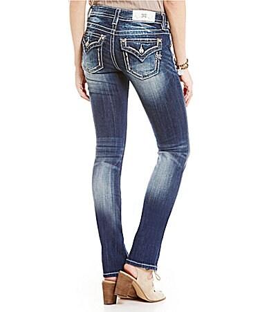 Miss Me Grommet Pocket Mid-Rise Straight Jeans