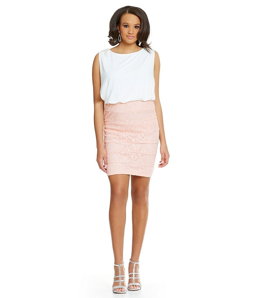Jodi Kristopher Plus Lace Panel Skirt Blouson Sheath Dress