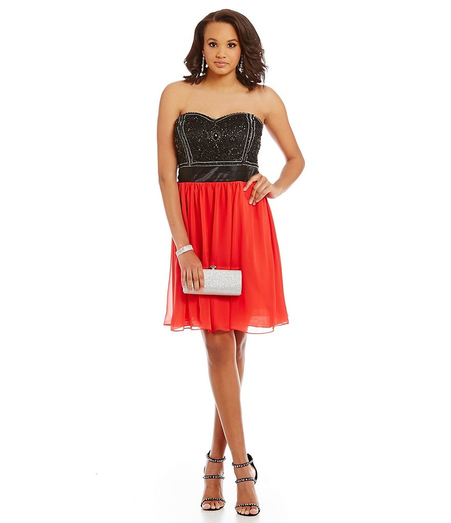 B. Darlin Plus Strapless Color Block Beaded Sweetheart Bust Dress