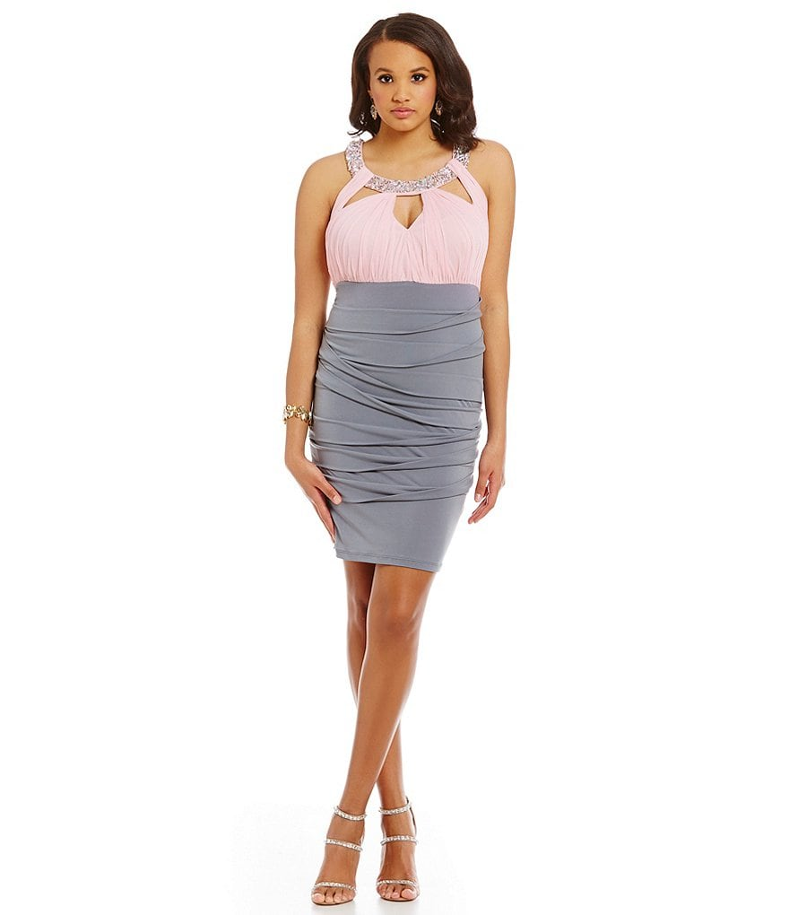 Jodi Kristopher Plus Jeweled Collar Colorblock Sheath Dress