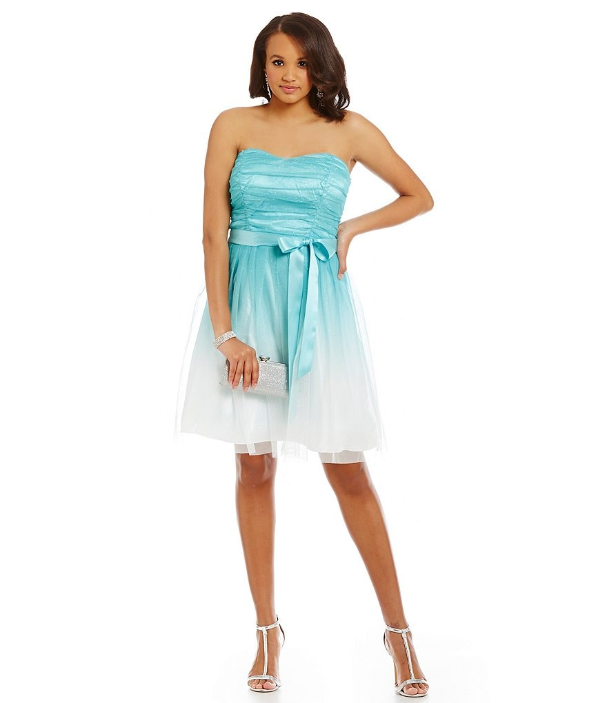 Teeze Me Plus Strapless Sweetheart Glitter Ombre Fit-and-Flare Party Dress