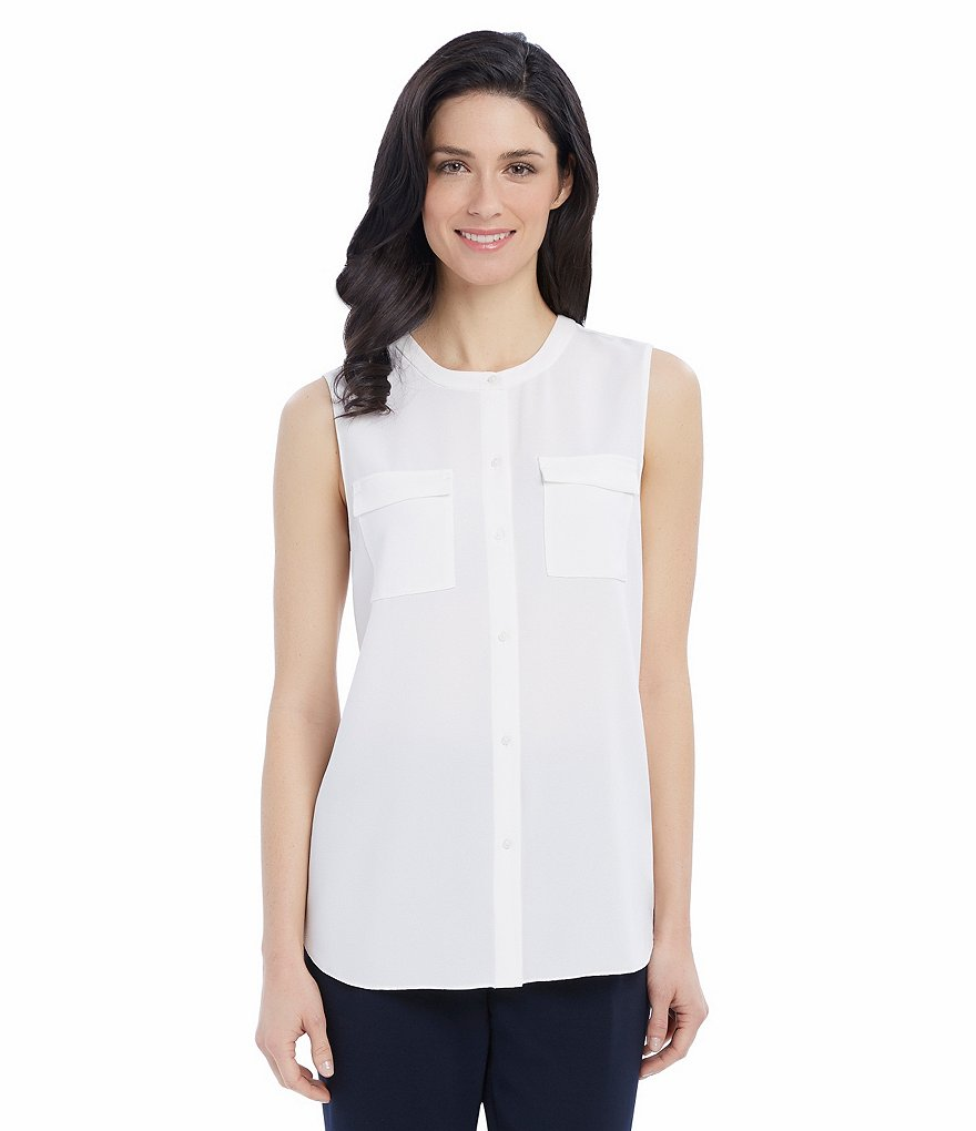 Ellen Tracy Crepe Georgette Band Neckline Sleeveless Shirt