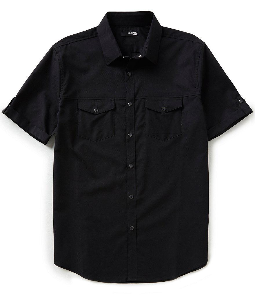 Murano Short-Sleeve Slim-Fit Two-Pocket Snap-Front Solid Sportshirt