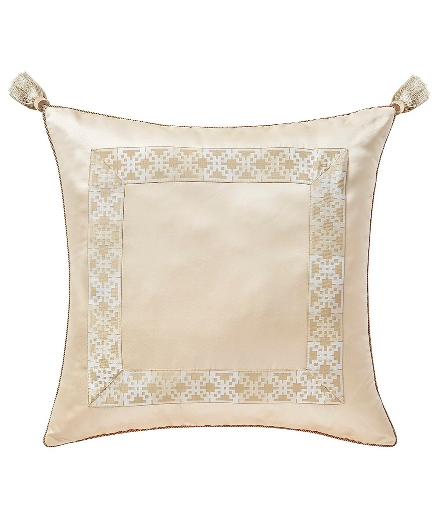 Waterford Copeland Tasseled Geometric-Bordered Jacquard Euro Sham