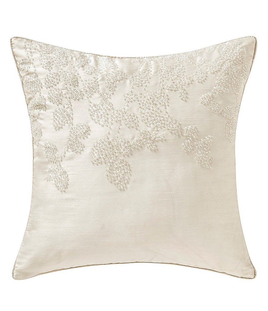 Waterford Copeland Leaf Seed-Beaded Faux-Silk Square Pillow