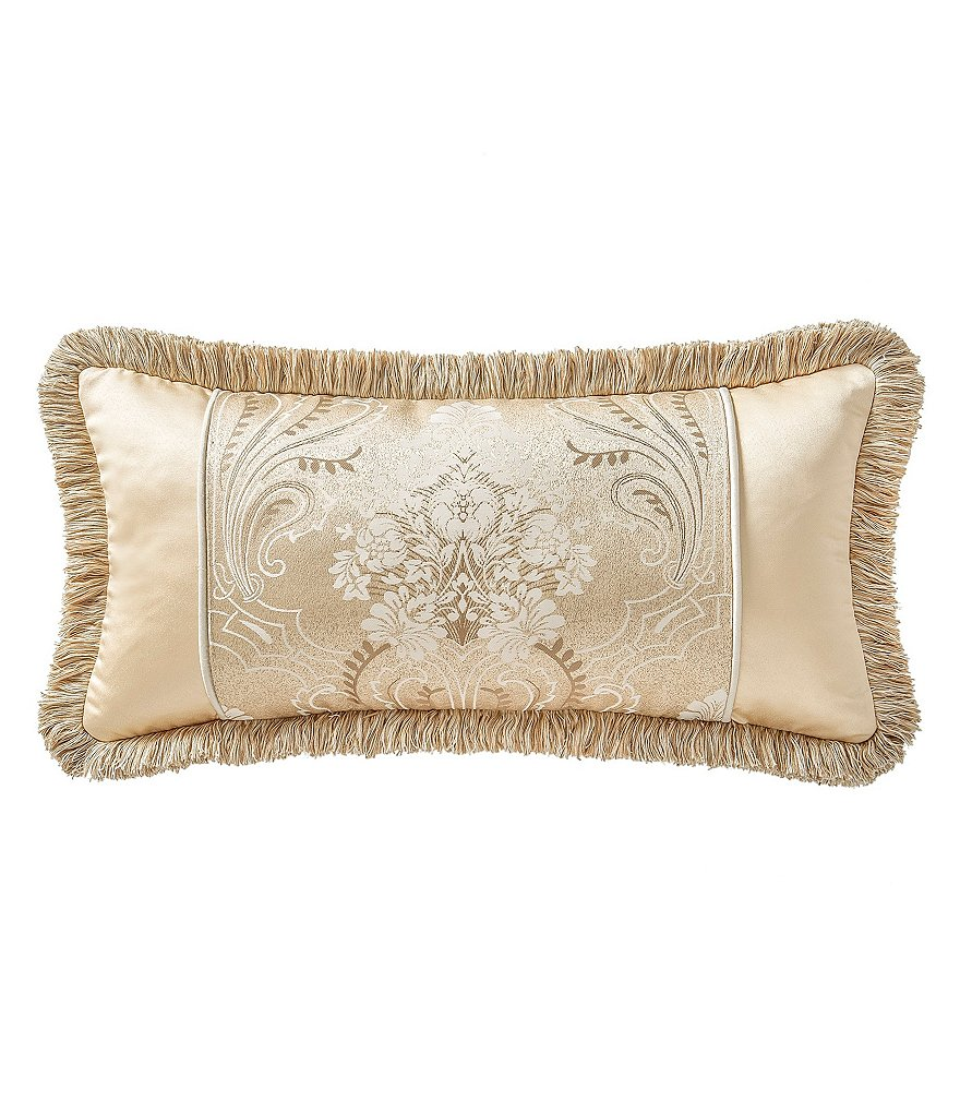 Waterford Copeland Art Nouveau Scroll-Embroidered Fringed Satin Boudoir Pillow
