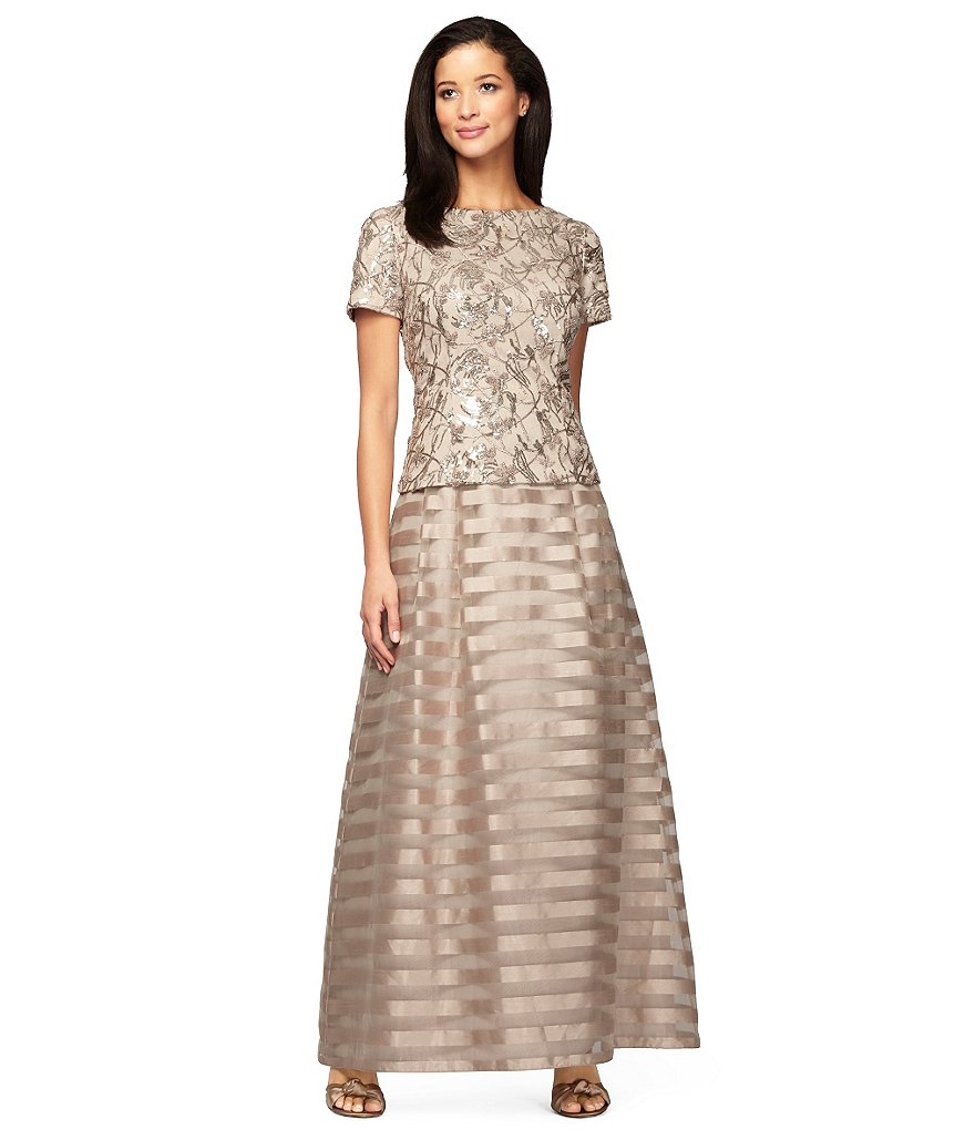 Alex Evenings Embroidered Sequin Mock A-Line Gown