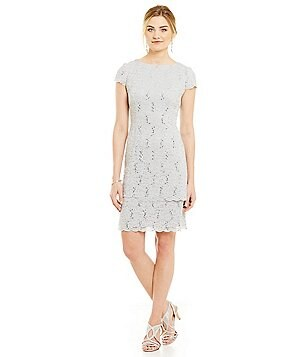 Alex Evenings Tiered Lace Sheath Dress