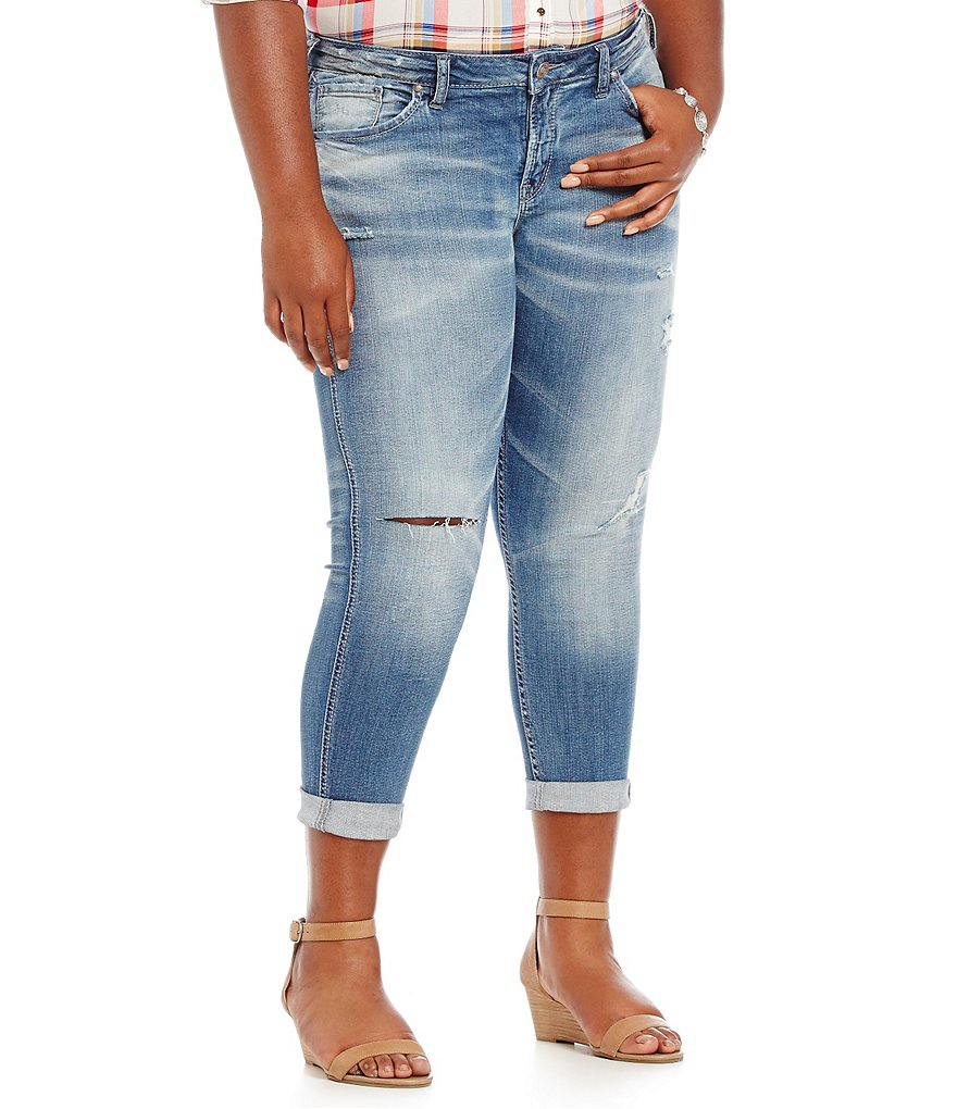 Silver Jean Co. Plus Destructed Boyfriend Jeans