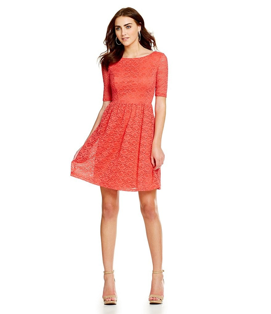 Jessica Simpson 3/4 Sleeve Lace Fit-and-Flare Dress
