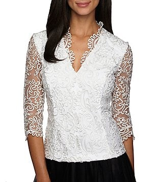Alex Evenings Embroidered Scallop Blouse