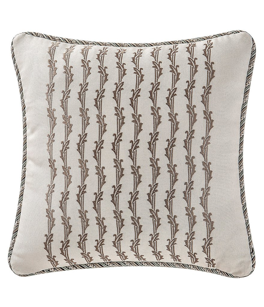 Waterford Mercer Satin-Embroidered Faux-Linen Square Pillow