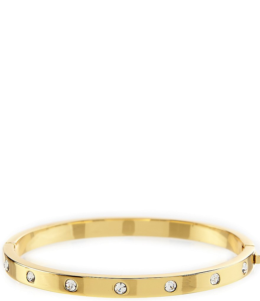 Kate Spade New York Set In Stone Hinged Gold Plated Bangle
