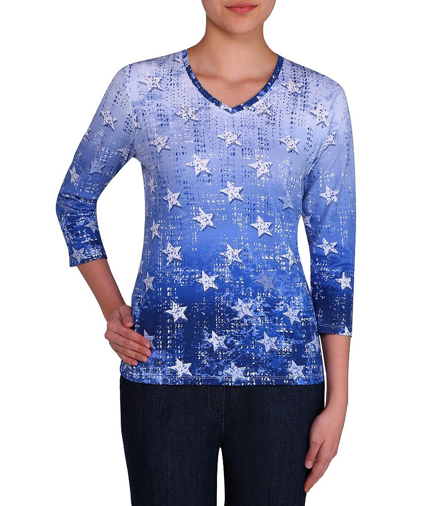 Allison Daley Petite Soft V-Neck Denim Stars Print Knit Top