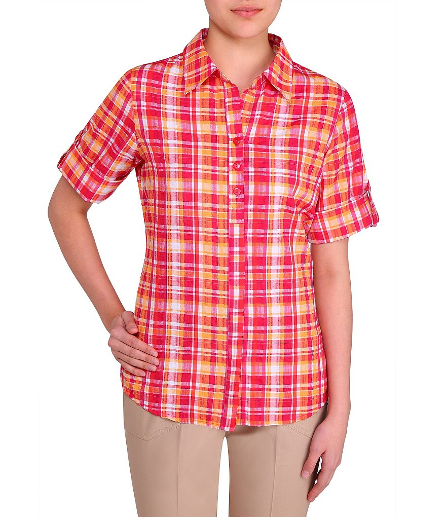 Allison Daley Petite Plaid Short-Sleeve Woven Blouse