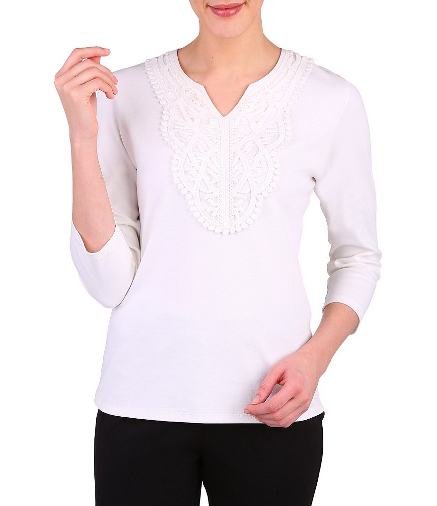 Allison Daley Petite Notch 3/4 Sleeve V-Neck with Lace Panel Solid Knit Top