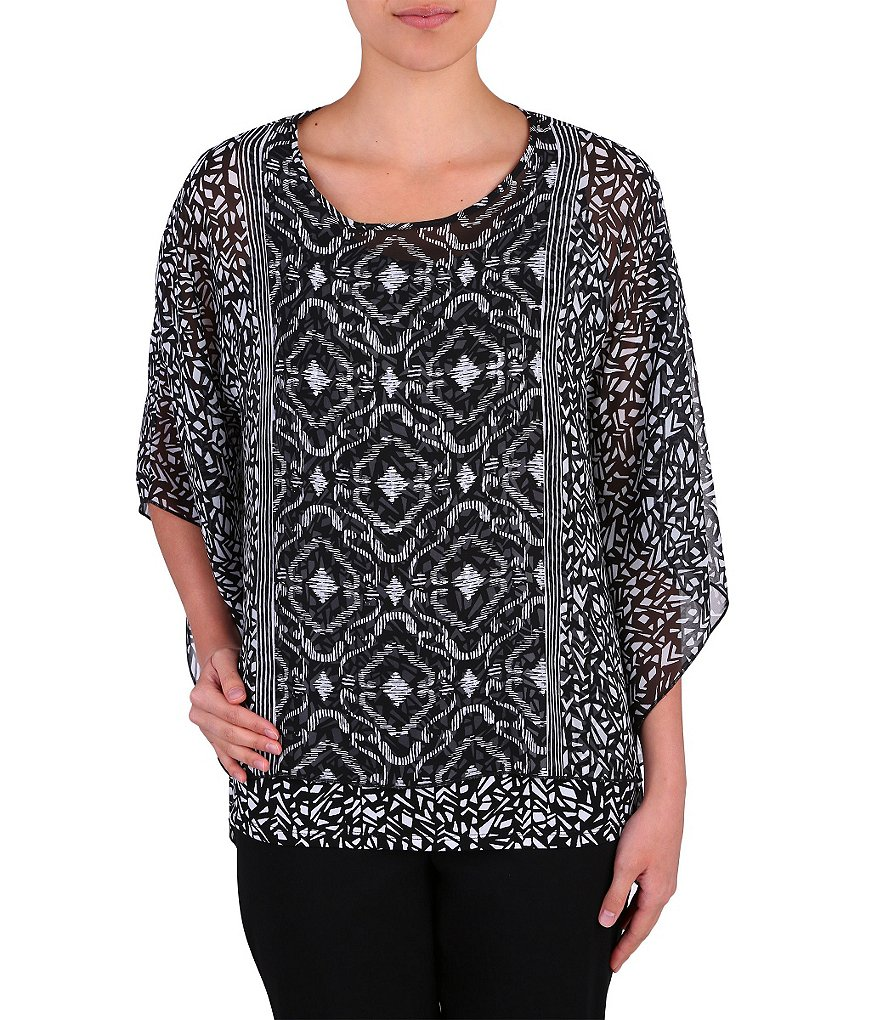 Allison Daley Petite Printed Poncho Top with Detachable Cami