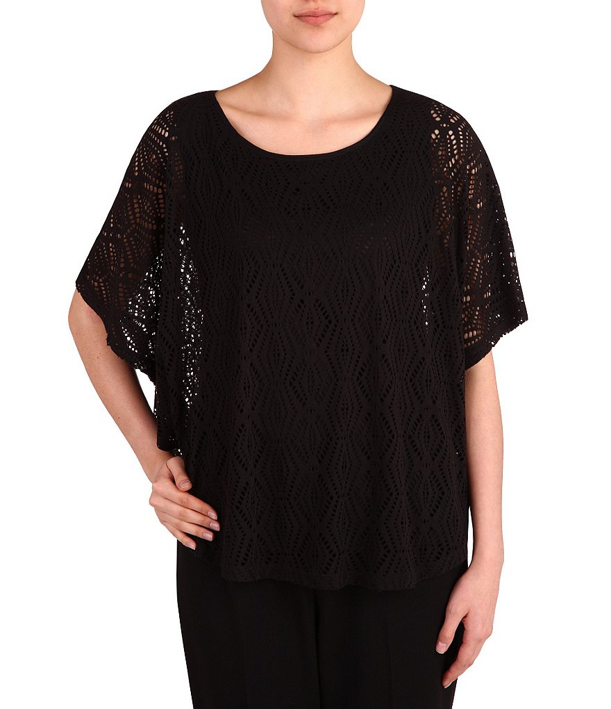 Allison Daley Petite Short Sleeve Poncho Top